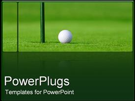 PowerPoint template displaying golf ball next to hole in green golf course