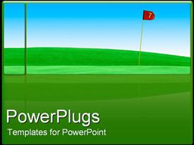 PowerPoint template displaying golf course green field in the background.