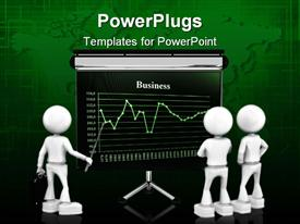 PowerPoint template displaying three human figures learning business from a graph board