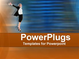 PowerPoint template displaying woman wearing business attire in victory pose on blue and brown background