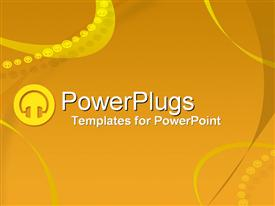 PowerPoint template displaying small depiction of headphone graphic and lines formed of headphone symbols on yellow background