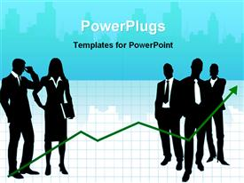 Illustrated image of business people template for powerpoint