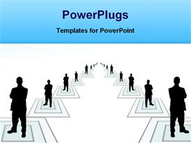 PowerPoint template displaying black figures of people standing in the middle of squares forming a large team