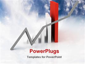 Illustrated image showing business graph powerpoint template