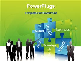 PowerPoint template displaying illustrative depiction of business people in the background.