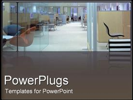 PowerPoint template displaying inside of office in the background.