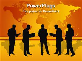 PowerPoint template displaying isolated businessmen works with papers on the white background