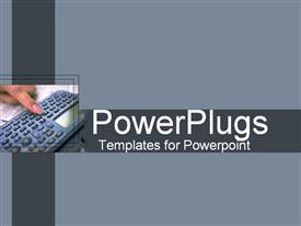 PowerPoint template displaying finger using small keyboard on gray background