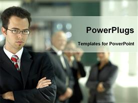 PowerPoint template displaying an adult male with folded hands and a serious face