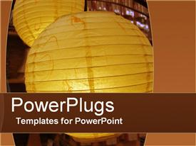 PowerPoint template displaying two large gold colored light balls over a brown background