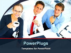 PowerPoint template displaying two males and a female corporately dressed in an office