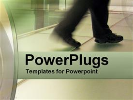 PowerPoint template displaying a pair of legs in black trousers walking fast on a tiled floor