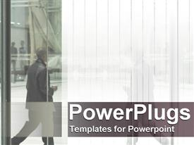 PowerPoint template displaying man seen through skyscraper building glass