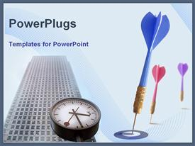 PowerPoint template displaying three multi colored darts with a clock and a high building