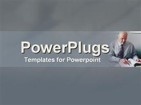 PowerPoint template displaying mature business man studies figures in the background.