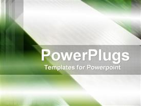 PowerPoint template displaying green abstract background with silver grey