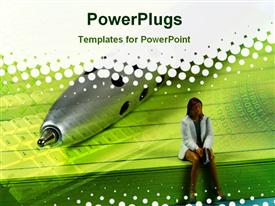 PowerPoint template displaying an image of a woman sitting on a book with a large pen