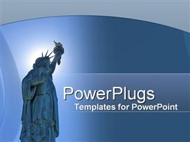 PowerPoint template displaying image of the statue of liberty in blue with shinning light