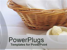 PowerPoint template displaying basket towels mug displayed white background