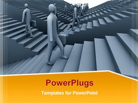 PowerPoint template displaying lots of people waking up and down flight of stairs