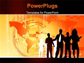 PowerPoint template displaying orange business Concept. Similar depictions can be found at my gallery in the background.