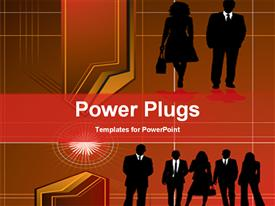 PowerPoint template displaying an abstract of lots of business people on an orange background