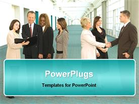 PowerPoint template displaying multiple ethnic business people speaking to each other and shaking hands at a business convention