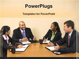PowerPoint template displaying four business people smiling and having a conference table meeting