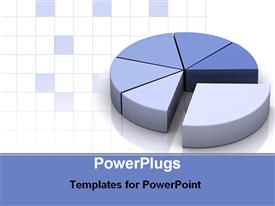 PowerPoint template displaying grey and blue pie chart for data as a metaphor on a white background