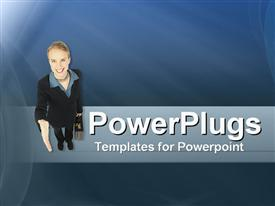 PowerPoint template displaying business woman gestures for handshake on cool abstract background