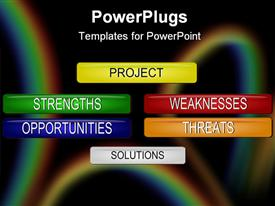 PowerPoint template displaying six multi colored  project management tags for SWOT analysis