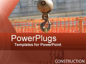 PowerPoint template displaying a machine in working with construction material