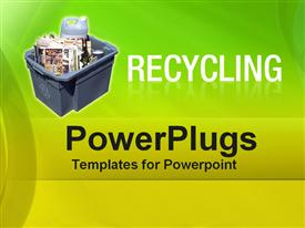 PowerPoint template displaying recycling bin