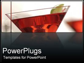 PowerPoint template displaying red martini glass in the background.