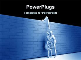 PowerPoint template displaying teamwork metaphor with three people helping each other climb over a wall