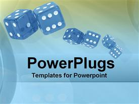 PowerPoint template displaying depiction of blue dice rolled on blue and green background