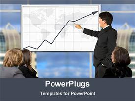 PowerPoint template displaying showing business growth in a conference in the background.