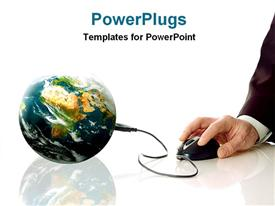 PowerPoint template displaying showing world wide communication