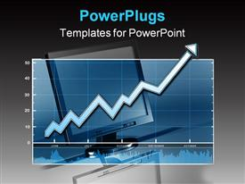 PowerPoint template displaying a simple chart with an arrow going up over top of a simple flat panel computer in the background.