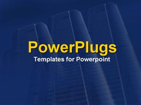 PowerPoint template displaying sister skyscrapers in business blue in the background.