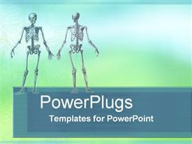 PowerPoint template displaying two human skeleton close ups standing in blue background