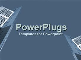 PowerPoint template displaying a plain ash colored surface background tile with high bildings