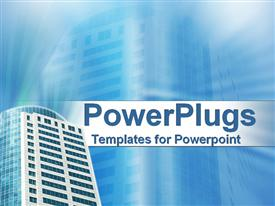 Smart high rise building on blue template for powerpoint
