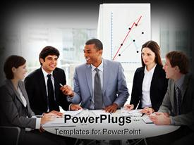 PowerPoint template displaying diversity theme with business people sitting at conference table with budget graph background