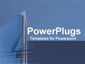 PowerPoint template displaying beautiful architectural design of glass building rising high to sky