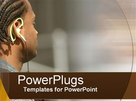 PowerPoint template displaying close up of man face wearing headphones listening to music with afro hairstyle