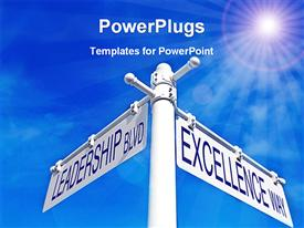 PowerPoint template displaying a rod with the options of leadership and excellence