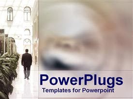 Suited businessman walks in opulent foyer powerpoint design layout
