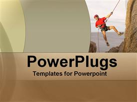 PowerPoint template displaying depiction of a man climbing a mountain on a rope