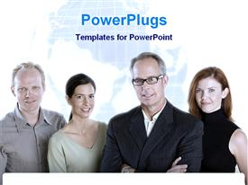 PowerPoint template displaying four people looking at camera with earth globe blurred in background
